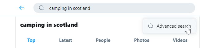 Screenshot of Twitter search for Camping in Scotland with mouse hovering over 'advanced search' section