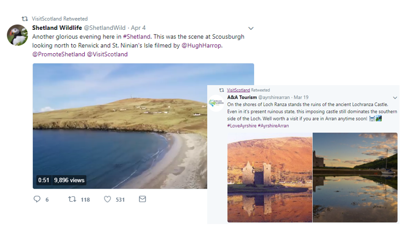 Two screenshots of twitter posts that VisitScotland has shared on Twitter