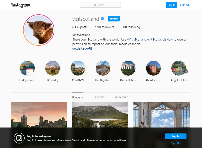 Screenshot of VisitScotland's Instagram profile page