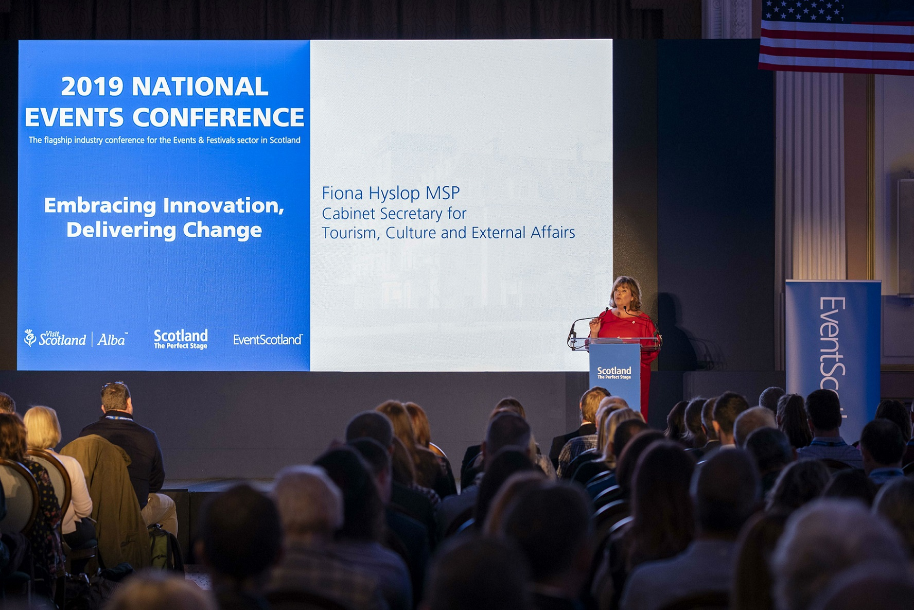 Fiona Hyslop MSP at the at the National Events Conference 2019