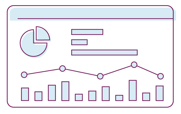 logo with graphs and charts representing research and insights