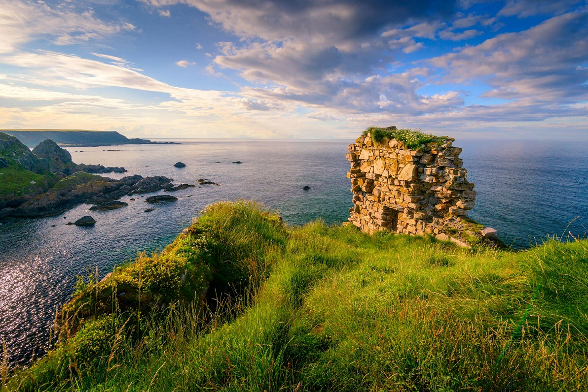Findlater Castle overlooking the Moray Firth on the coast of Banff and Buchan, Aberdeenshire