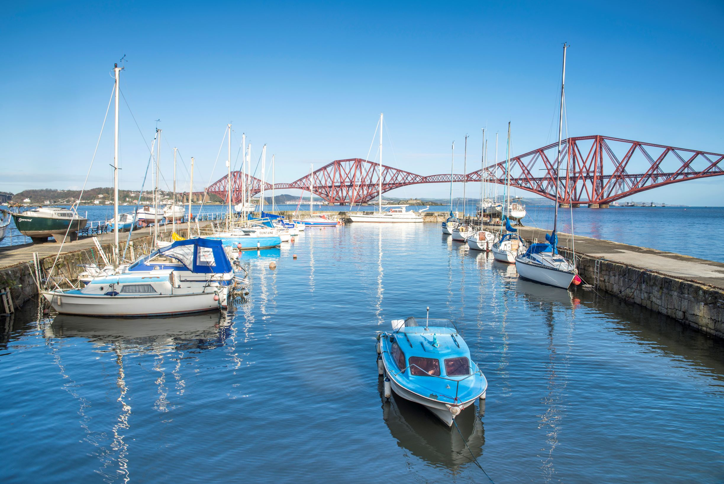 The Forth Bridge viewed from South Queensferry harbour