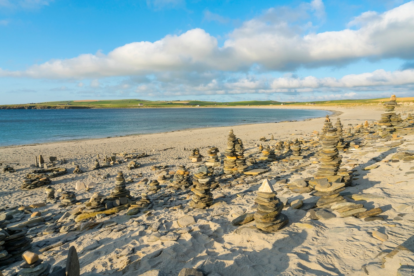 The Bay of Skaill where every summer stone sculptures appear along the shore line