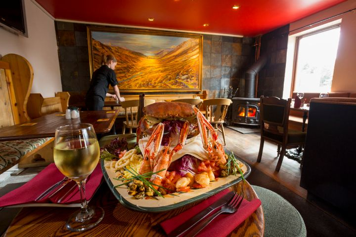 A sumptuous seafood platter in the traditional surroundings of the Old Inn, Gairloch