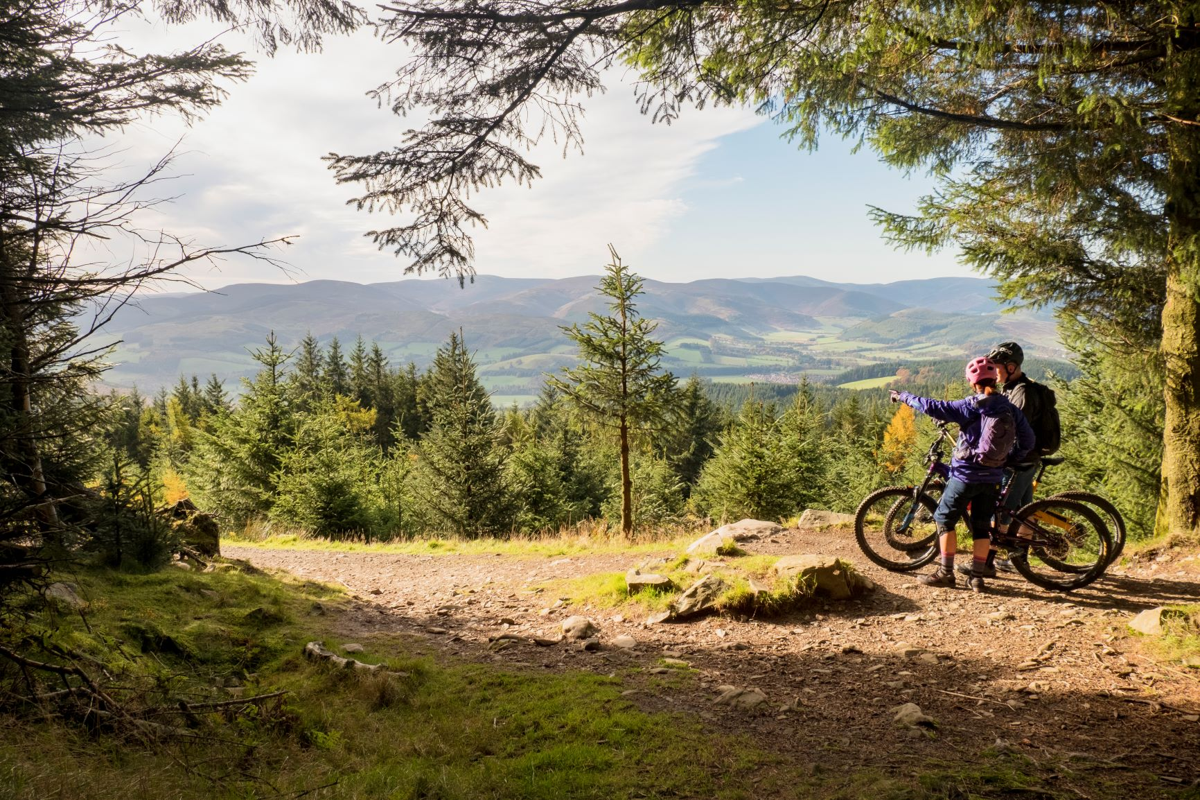Biking the cycle paths of Glentress Forest, Scottish Borders