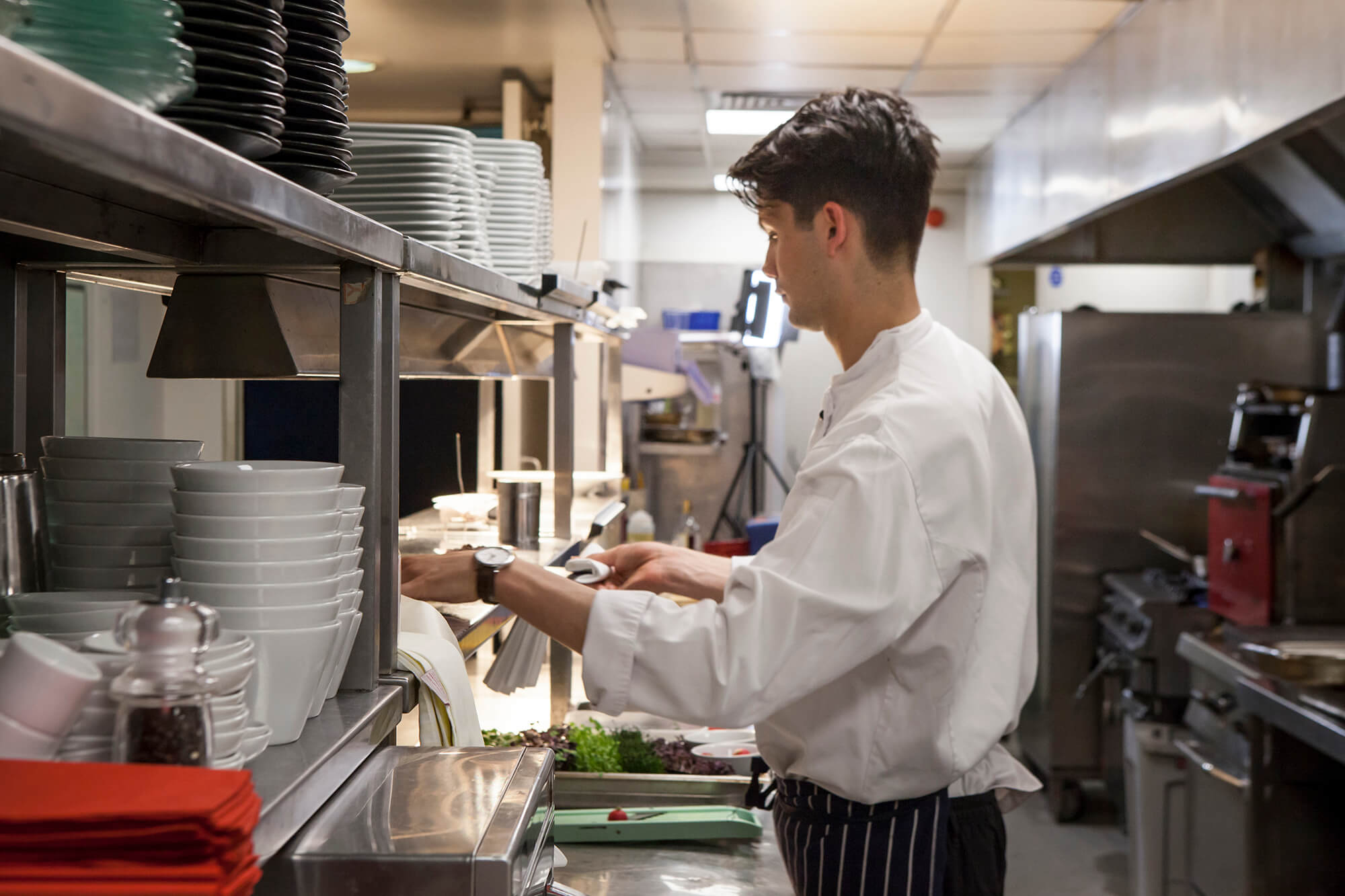 Joe Posnett works in the kitchen at Apex Hotels